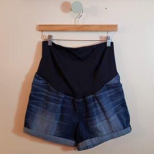 Isabel Maternity Dark Washed Midi Jean Shorts
